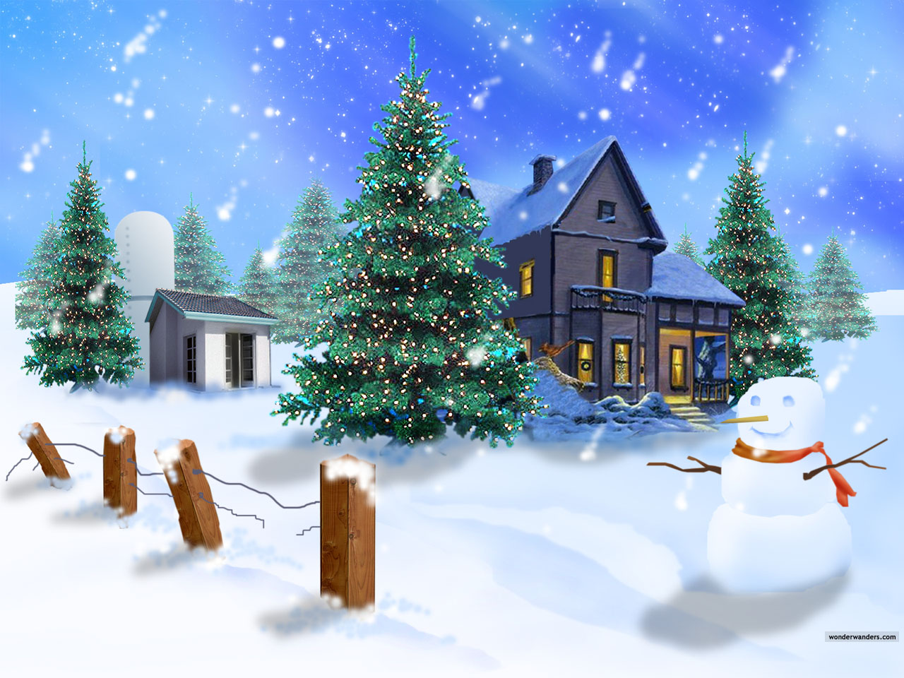 Cute Winter Scene Christmas Wallpaper 1280x960