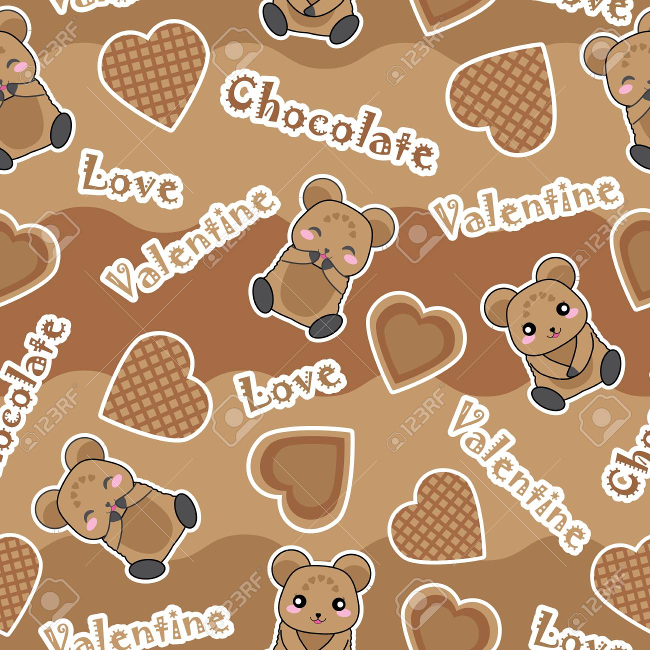 Valentine Seamless Pattern Vector Cartoon With Cute Baby Bear 1300x1300