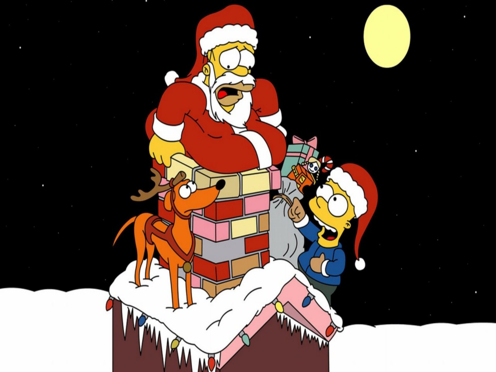 Simpsons Christmas Background Wallpaper - 1600x1200 - 177891