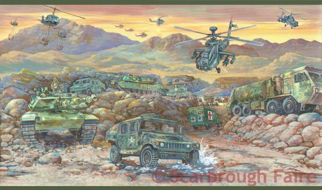 Army Wallpaper Border GB9013 1B Camouflage Camo Military 650x384