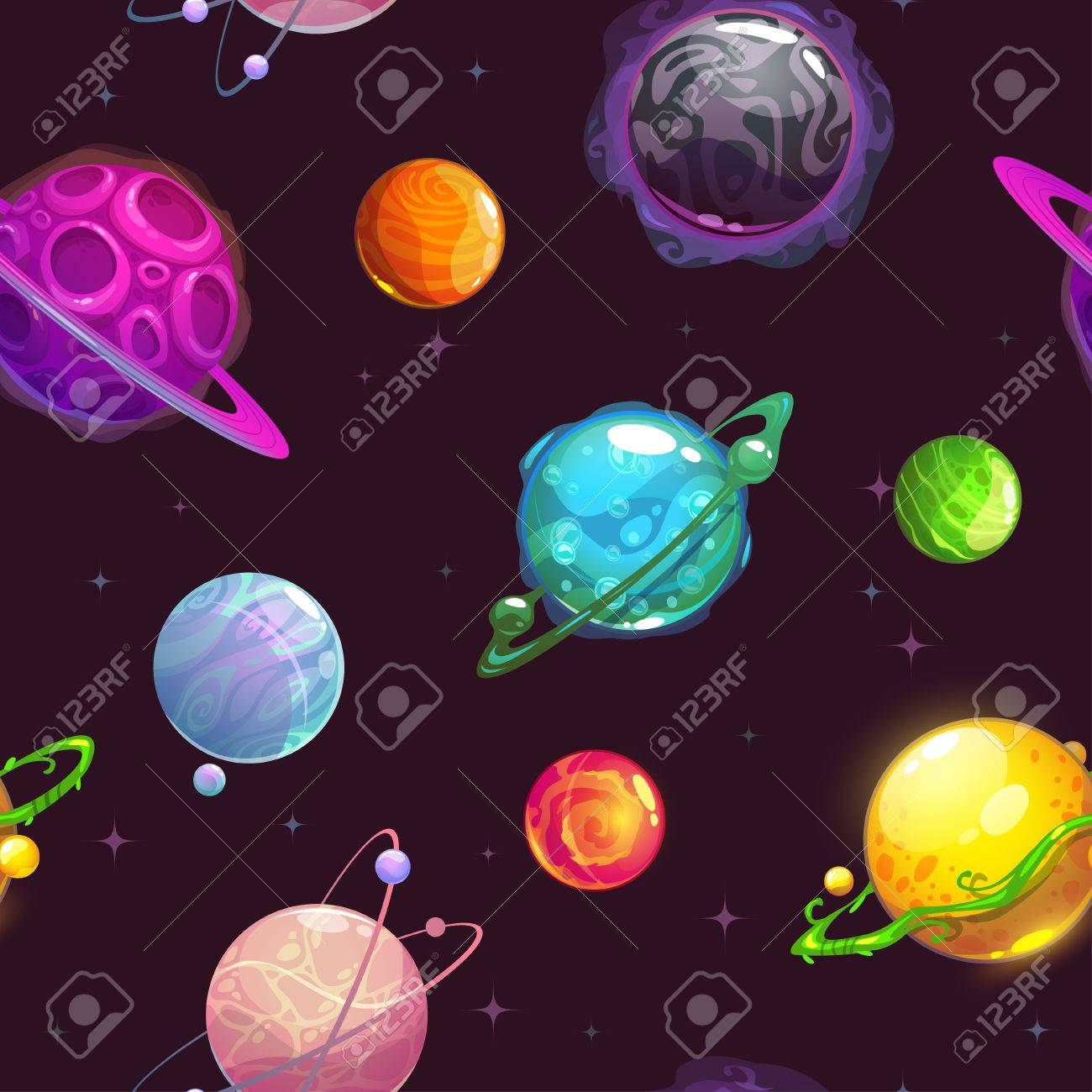 Seamless Pattern With Fantasy Cartoon Planets On The Space 1300x1300