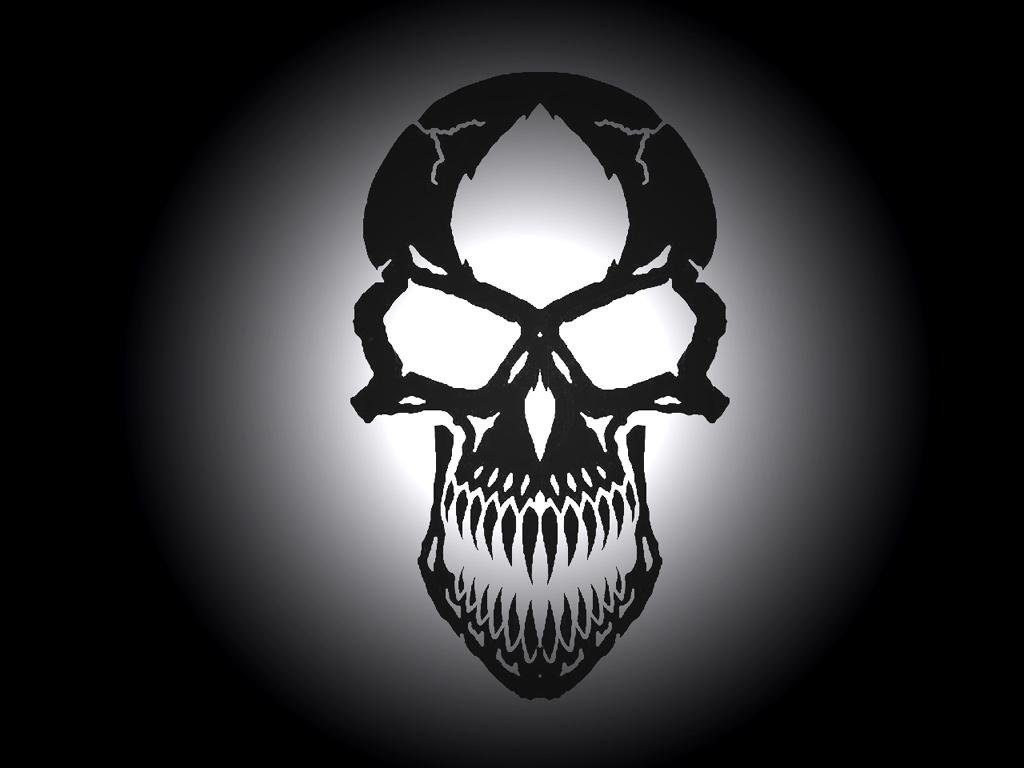 Download Scary Skulls wallpaper backlighted black skull 1024x768