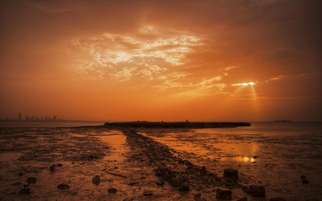 Stones Coast Sea Decline Evening Ruins Garbage   Stock Photos 1040x650