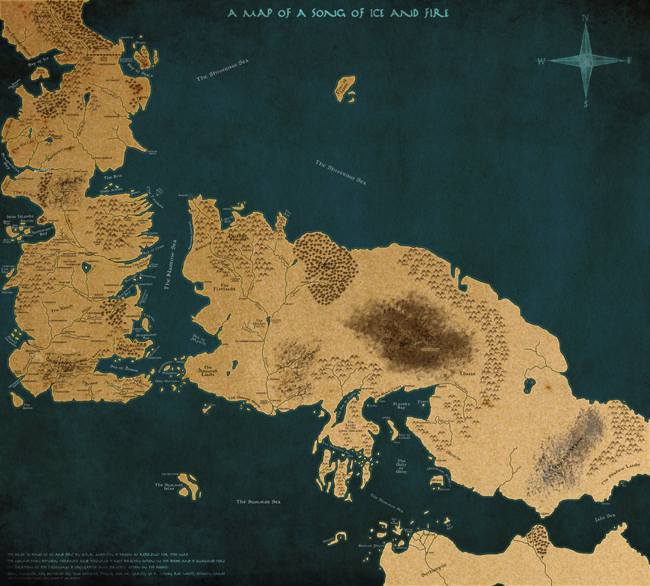 Map of A Song of Ice and Fire Version 2 by scrollsofaryavart on 941x848