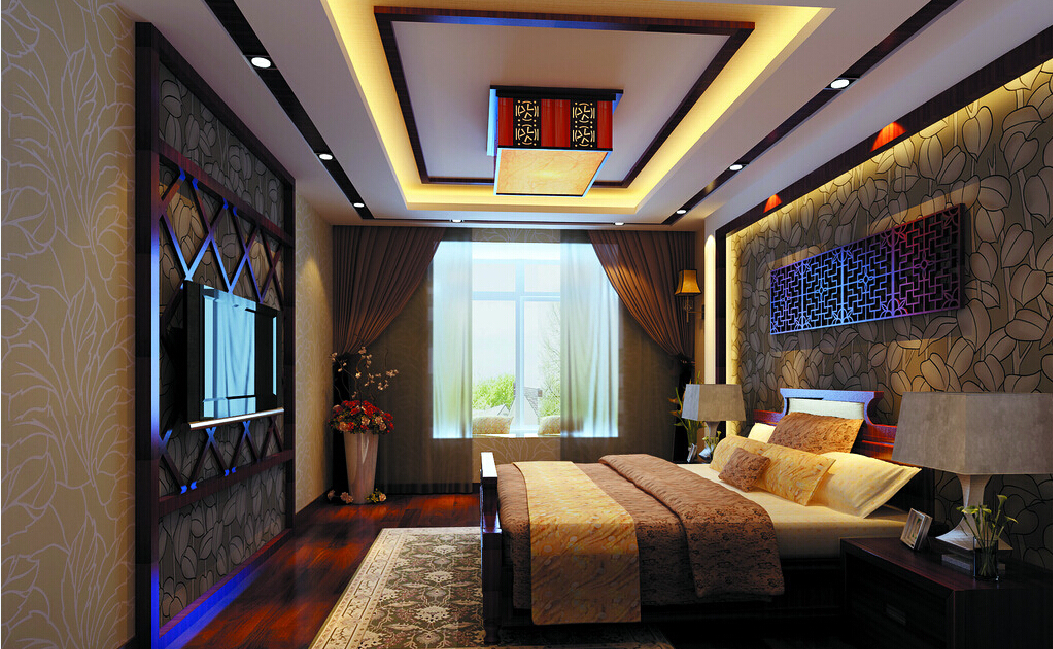 Free Download 3d Bedroom With Chinese Wallpaper And Ceiling Download