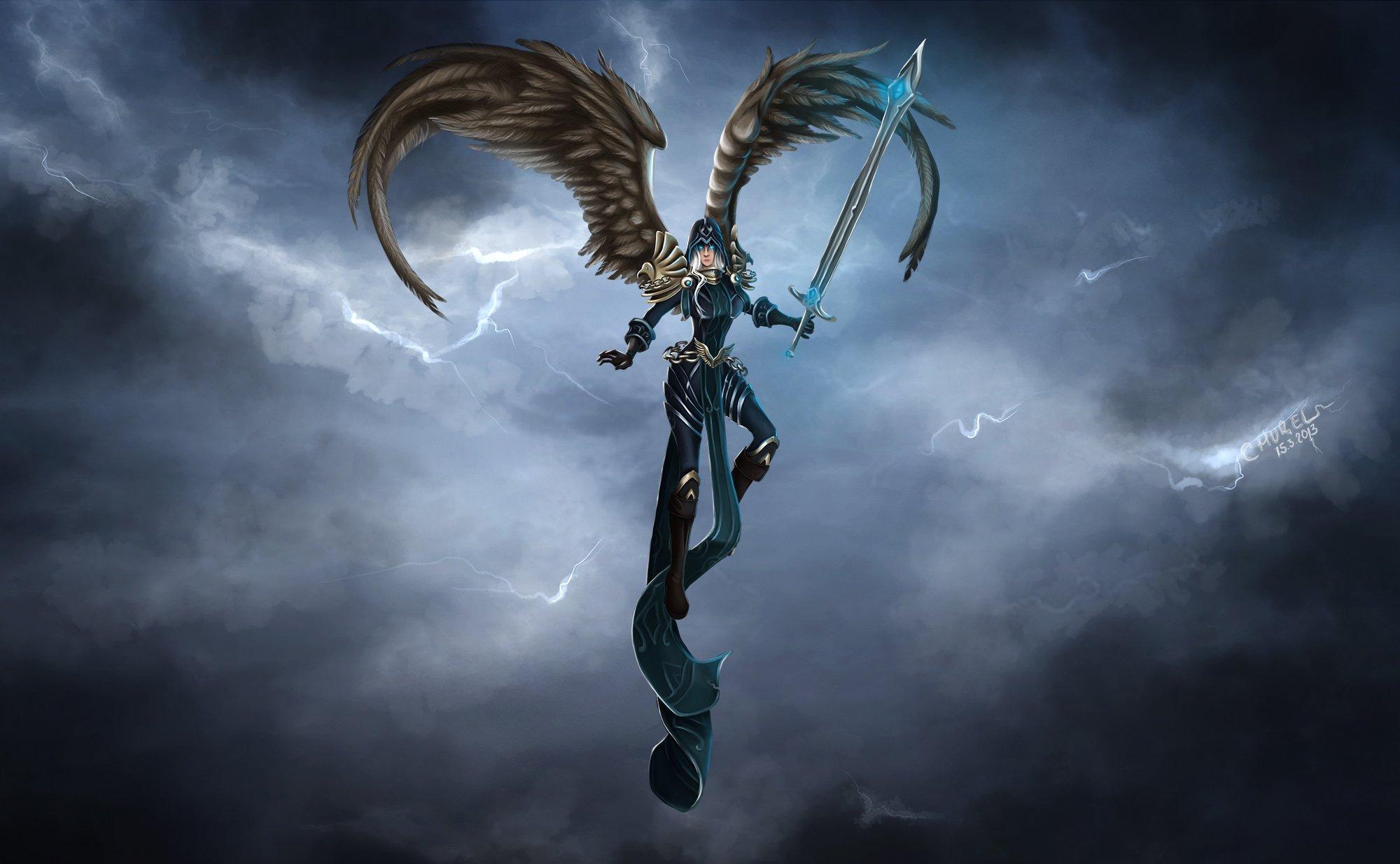 of Legends Warrior Kayle Swords Wings Games Fantasy angel wallpaper 2000x1235