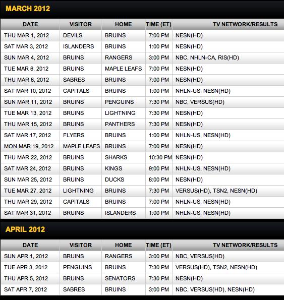 Bruins Schedule Wallpaper