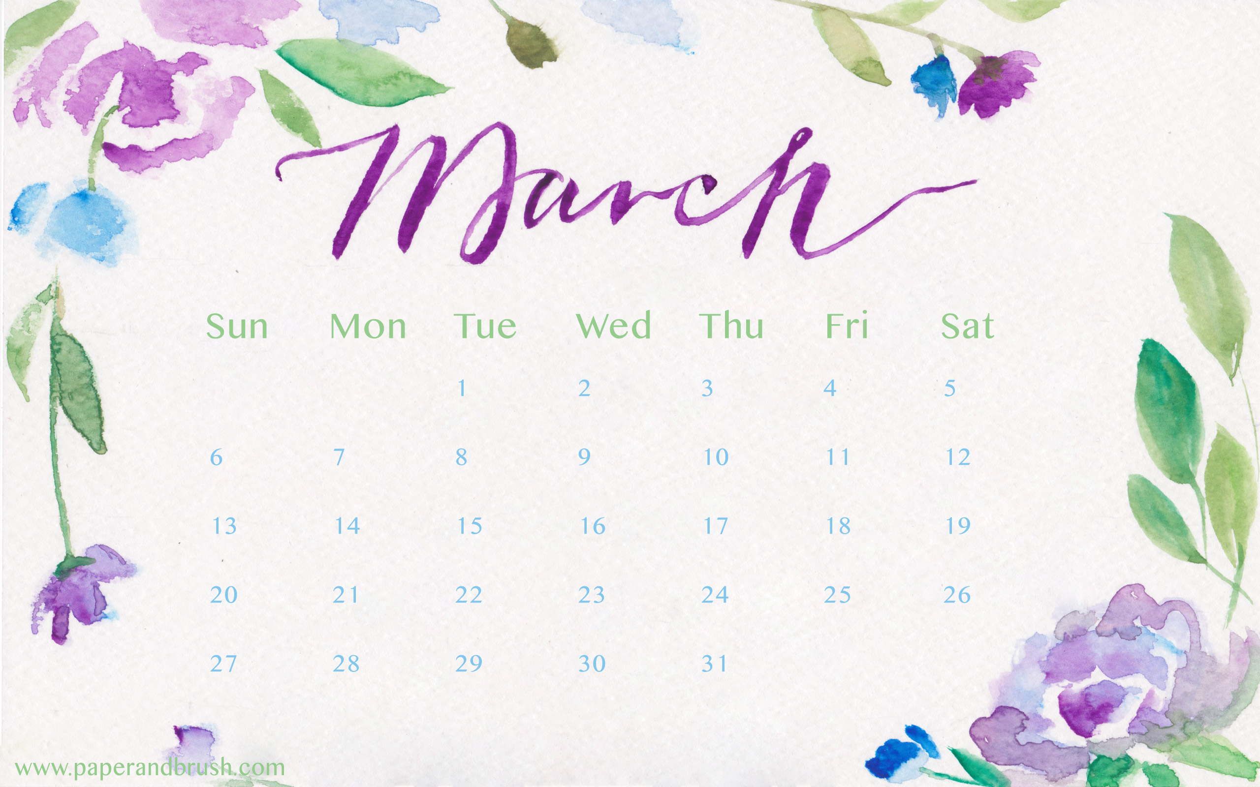 Top March 2016 Calendars Wallpapers 2560x1600