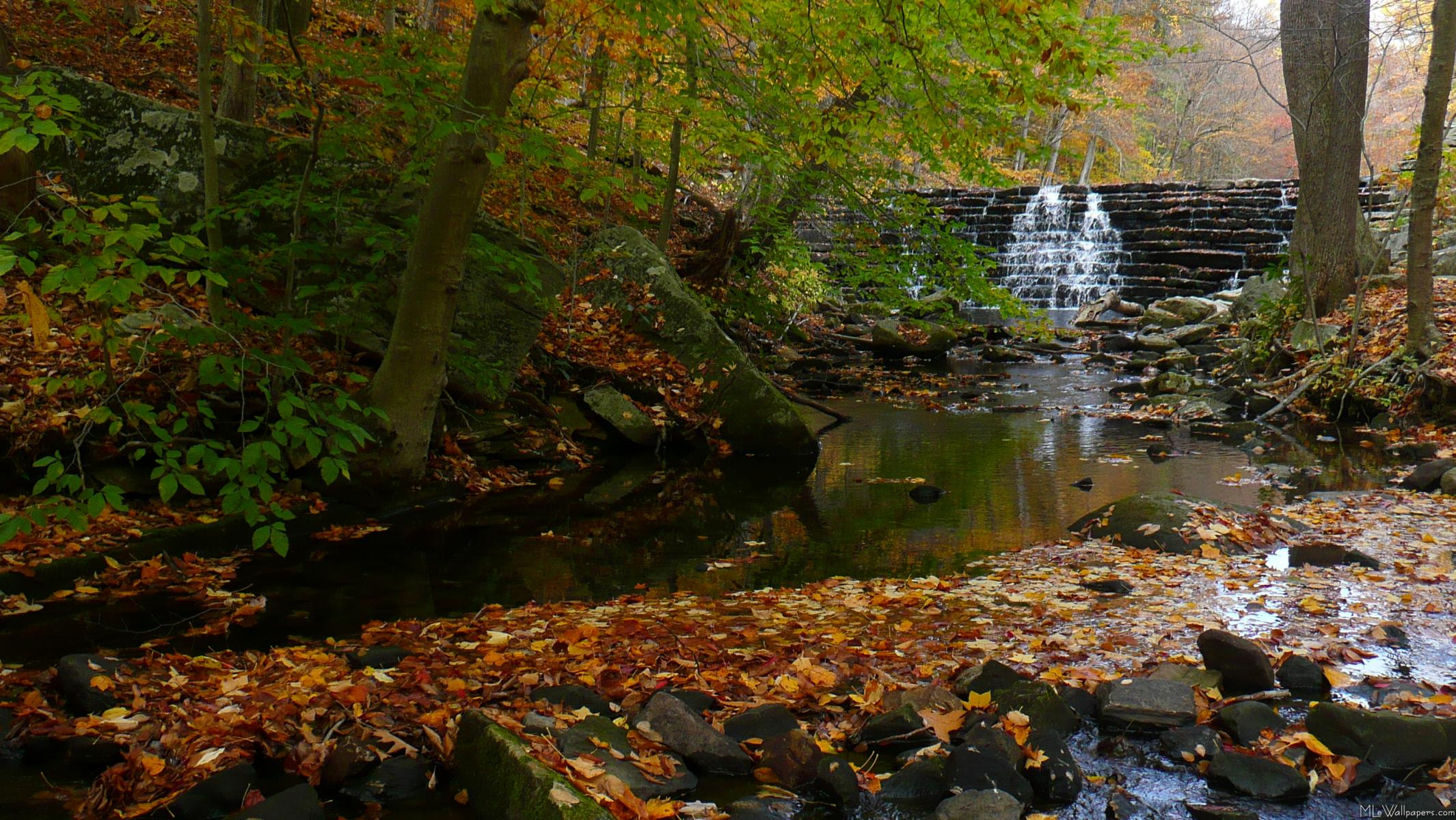 Waterfall on the creek Wallpaper Wallpapers   High resolution 2130x1200