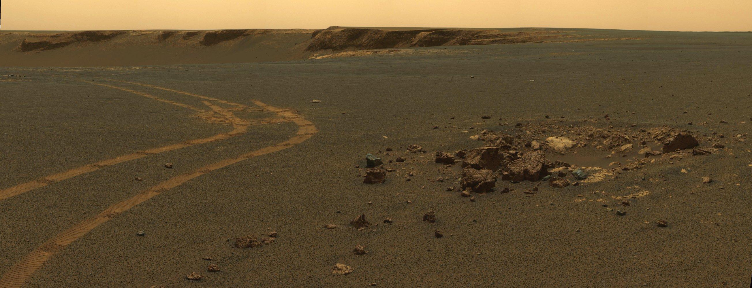 Mars Desktop Wallpaper NASA Opportunity Rover Tracks on Martian 2608x1000