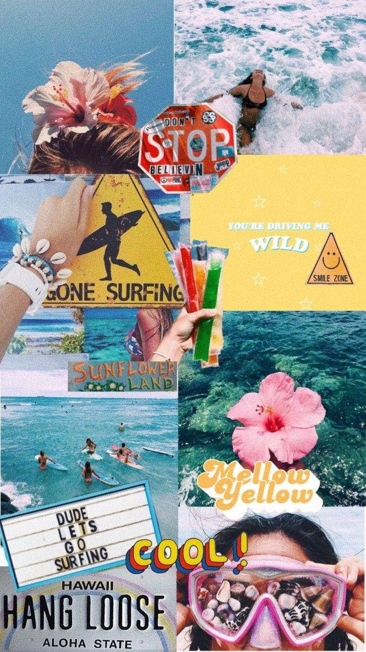 summer time Wallpaper iphone cute Collage background Wallpaper 750x1334