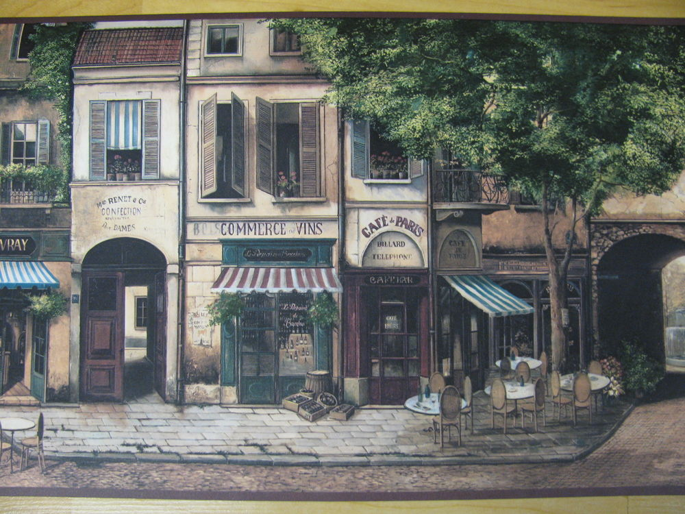 Wallpaper Border French Cafe Paris France Street Storefront 4 Rolls 9 1000x750