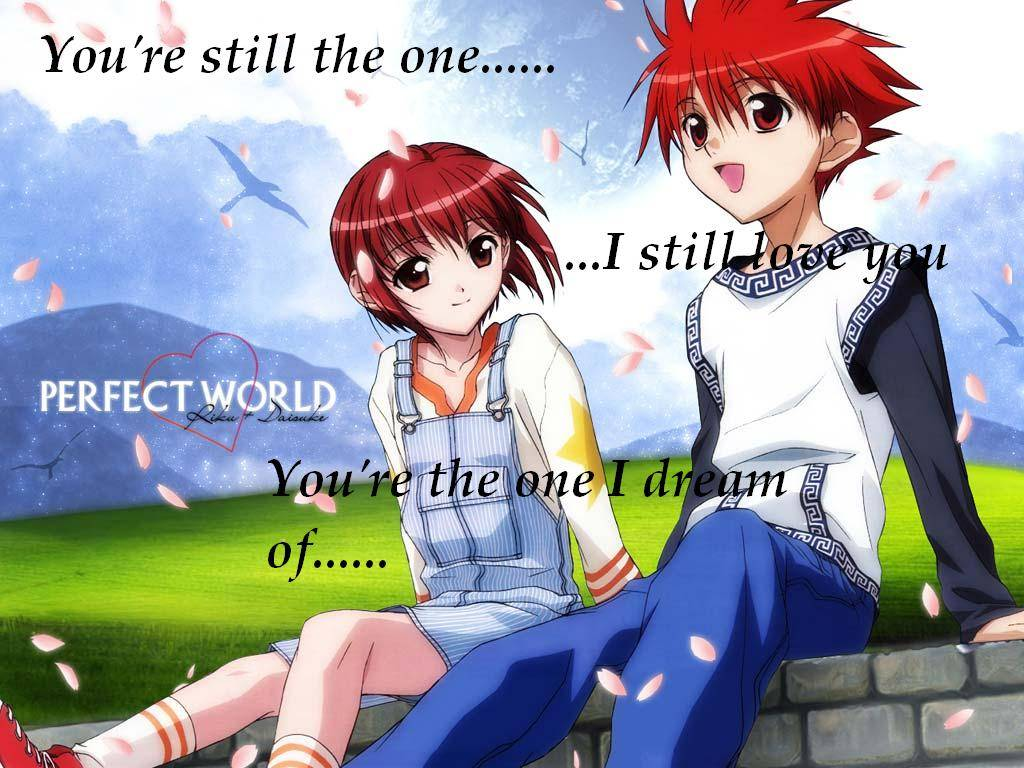 Cute Anime Couple Sitting Together 1024x768