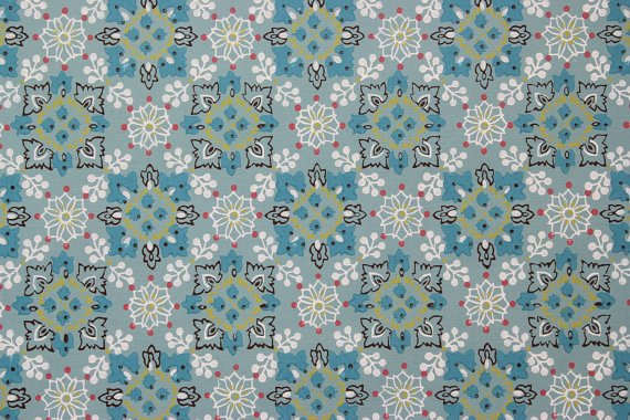 1960s Vintage Wallpaper Aqua and White Geometric on Aqua 570x380