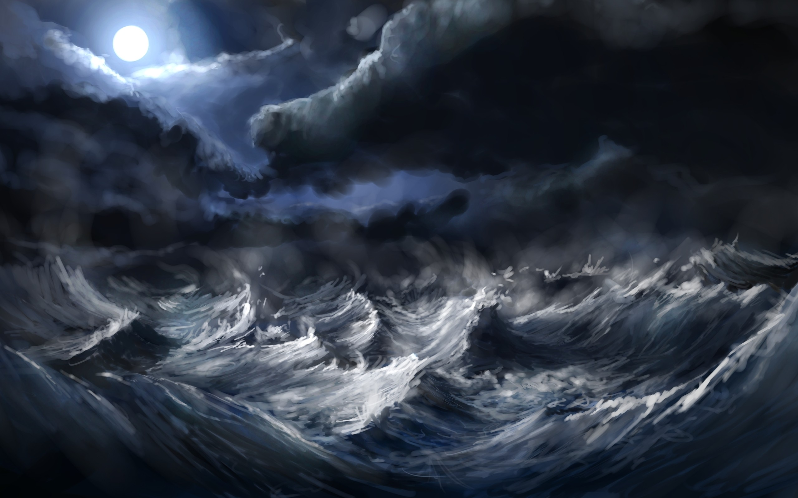 Waves Storm Wallpaper 2560x1600 Waves Storm Moon Artwork Alexlinde 2560x1600