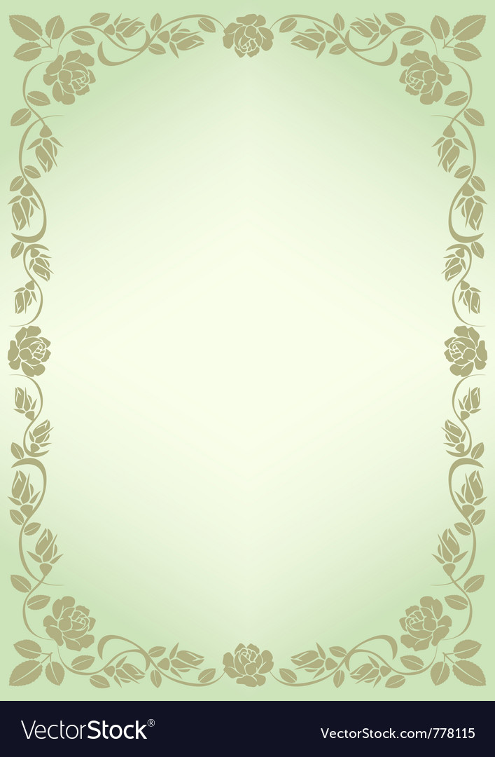 Background for menu with border roses Royalty Vector 707x1080