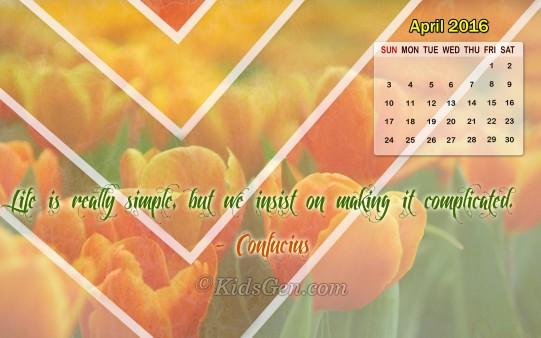 April 2016 Calendar Wallpaper Pic 541x338