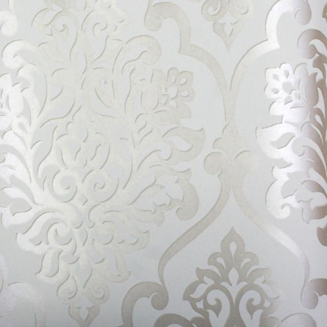 Living Nino Silver and White Damask Wallpaper contemporary wallpaper 640x640