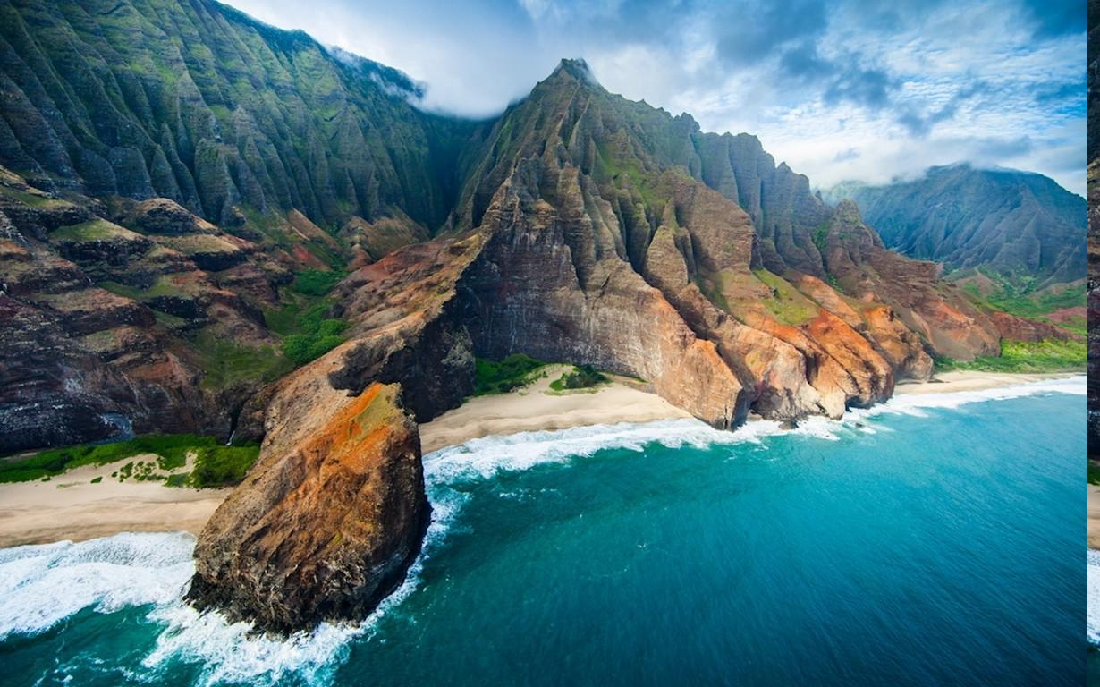 nature Landscape Aerial View Coast Beach Cliff Sea Mountain 1230x768