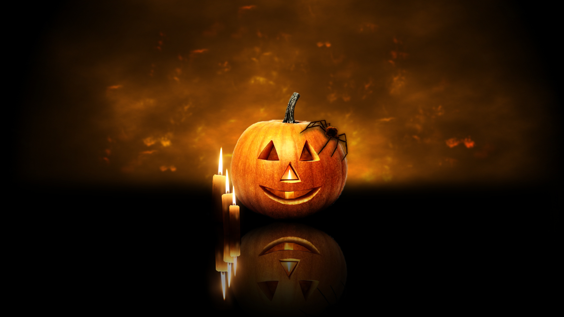 Scary Halloween 2012 HD Wallpapers Pumpkins Witches Spider Web 1920x1080