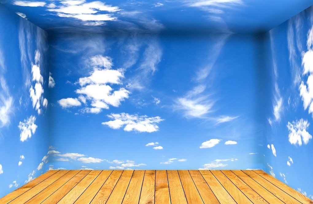 White clouds blue sky walls and wooden flooring 3D house 3D 1020x665