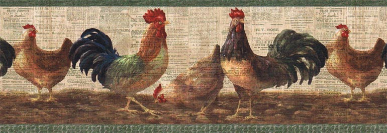Details about LAYERED ROOSTERHEN Wallpaper Border VIN7324B 770x265