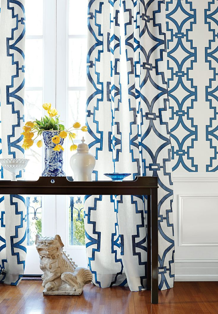 Songyue wallpaper in blue Draperies in Songyue Embroidery fabric 736x1062
