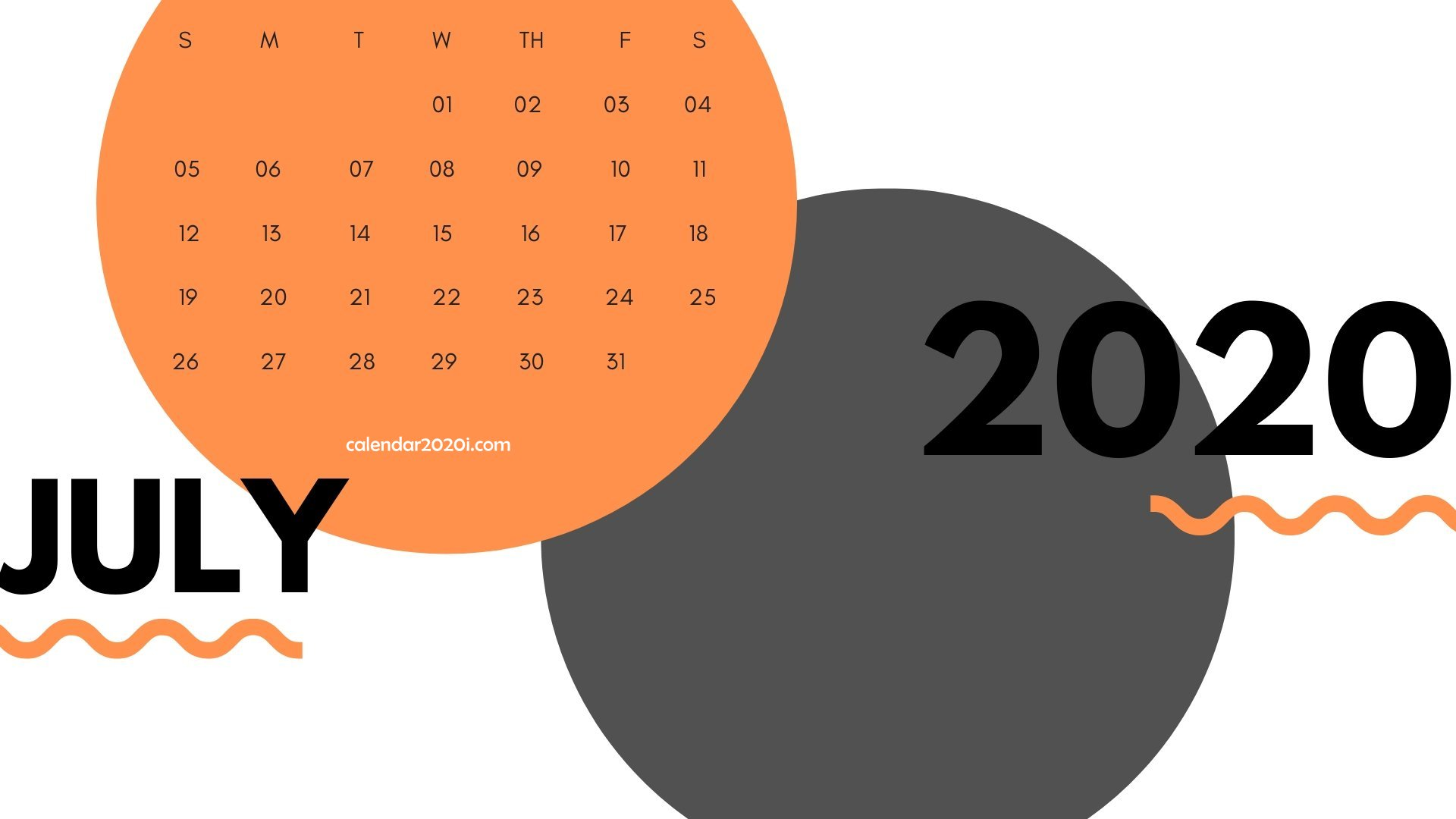 July 2020 Calendar Printable Template With Holidays 1920x1080