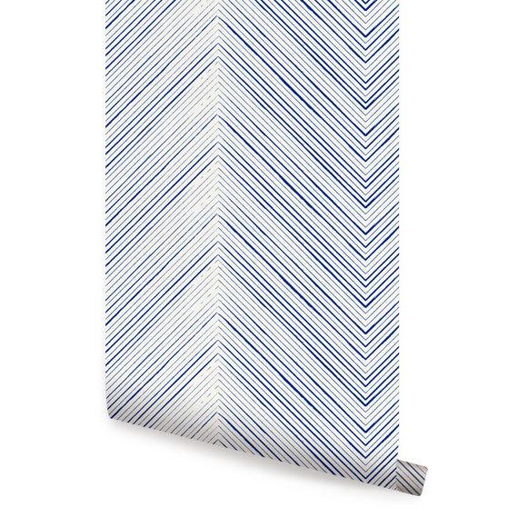 Chevron Lines Blue Peel Stick Fabric Wallpaper Repositionable 570x570