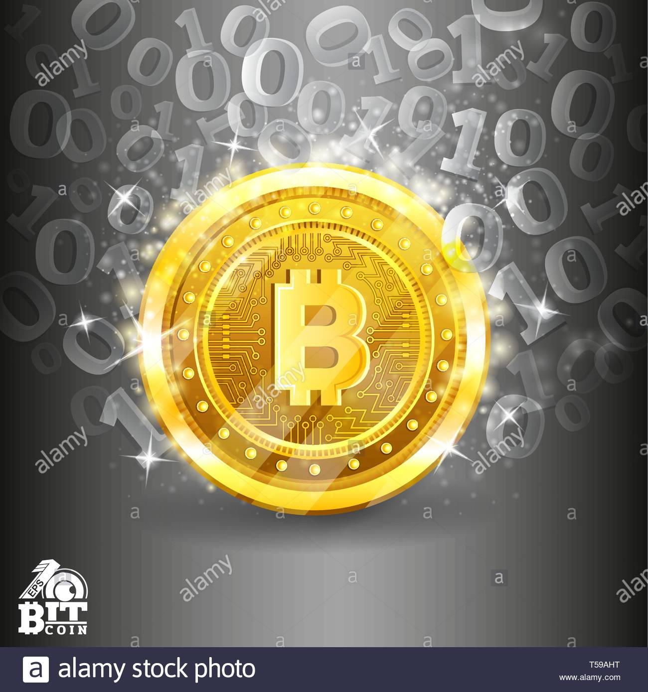 Golden bit coin in the center of silver background with binary 1300x1389