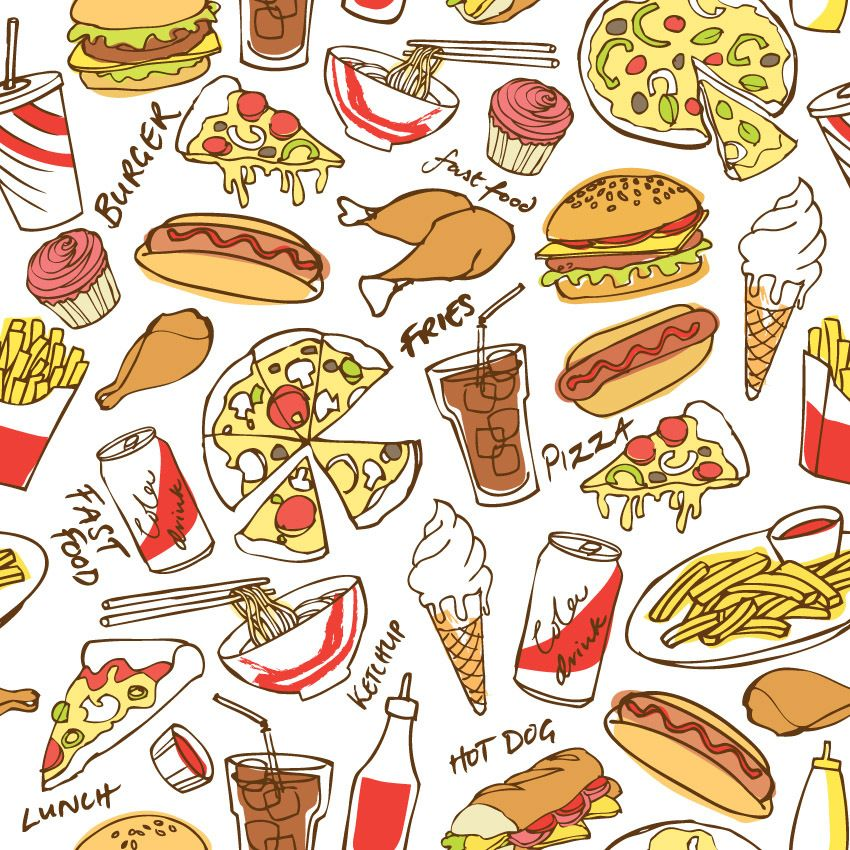 Junk food Wallpaper Food wallpaper Food patterns Food print 850x850