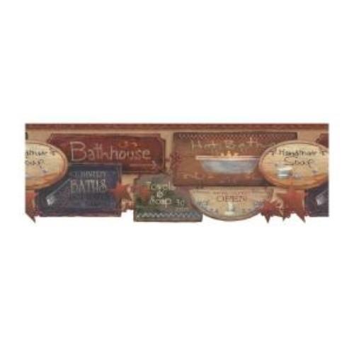 Rustic Bath Signs Wallpaper Border JN1848B country bathroom 500x500