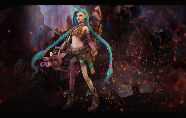 Jinx league of legends loose cannon girl weapon wallpapers photos 596x380