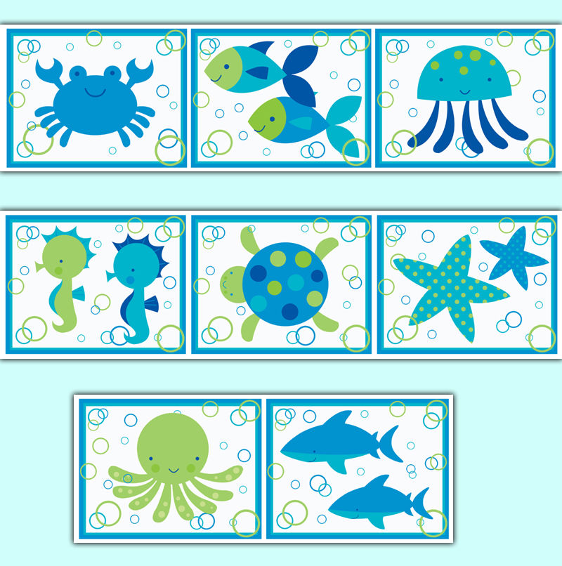 Sea Life Ocean Creatures Wallpaper Border Wall Art Decals Baby Boy 800x806