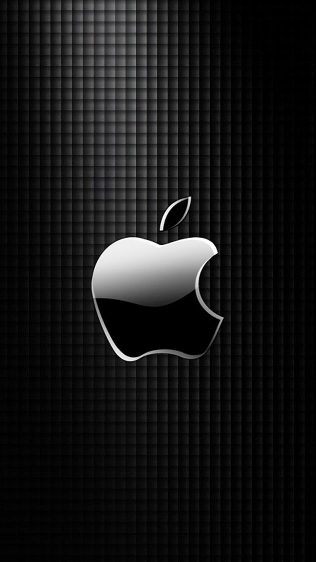 Free Download Sleek Apple Logo With Black Grid Background Wallpaper Iphone 640x1136 For Your Desktop Mobile Tablet Explore 48 Black Apple Wallpaper Apple Images Wallpaper Apple 3d Logo Hd
