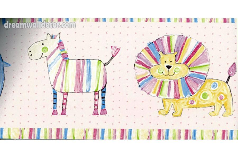 Kids Lion Paint Wallpaper Border 900x600