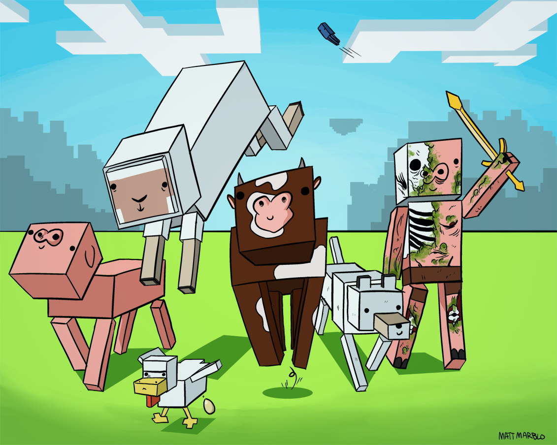 Free Download Minecraft Mobs Wallpaper Cute 1131x904 For