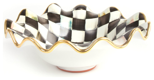 Courtly Check Small Serving Bowl MacKenzie Childs eclectic serving 640x334
