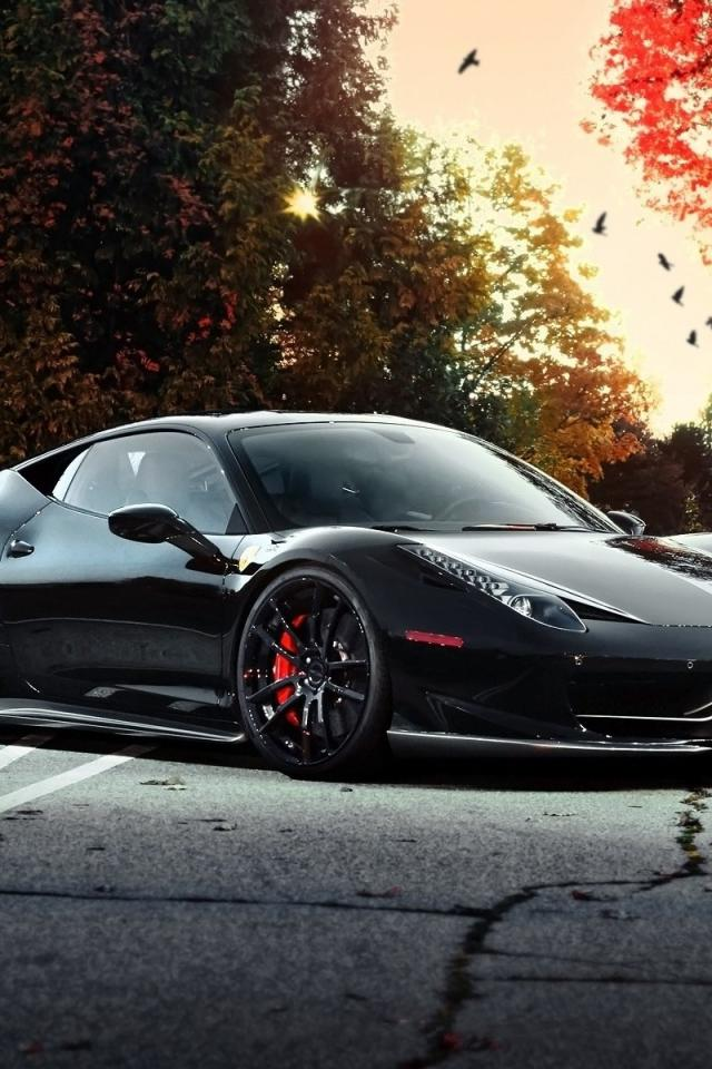 Ferrari black cars exotic supercars wallpaper 67322 640x960