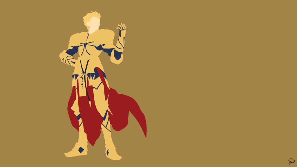 GilgameshArcher FateZero Minimalist Wallpaper by greenmapple17 on 1024x576