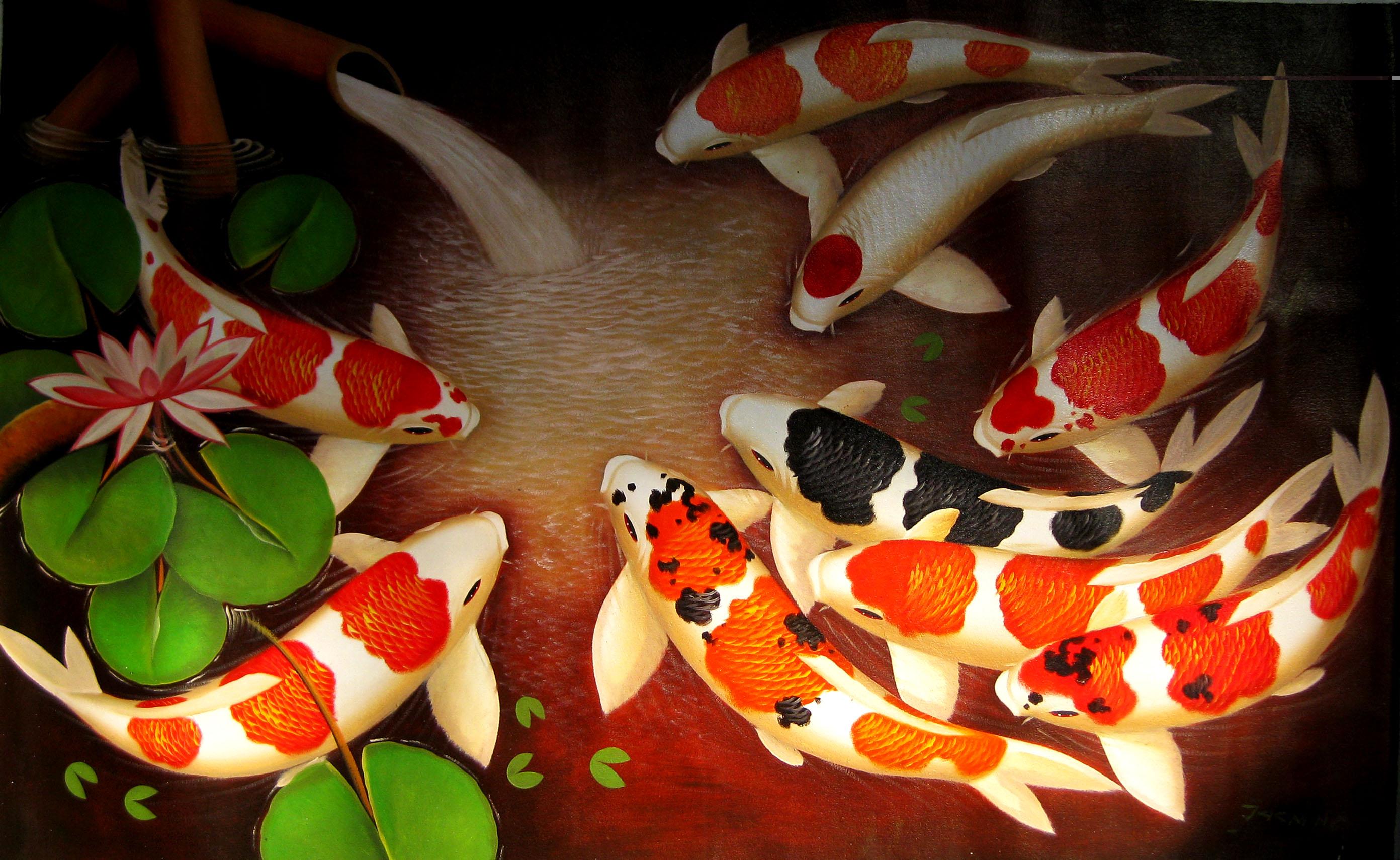 Золотые рыбки на поверхности  № 2075938 бесплатно
