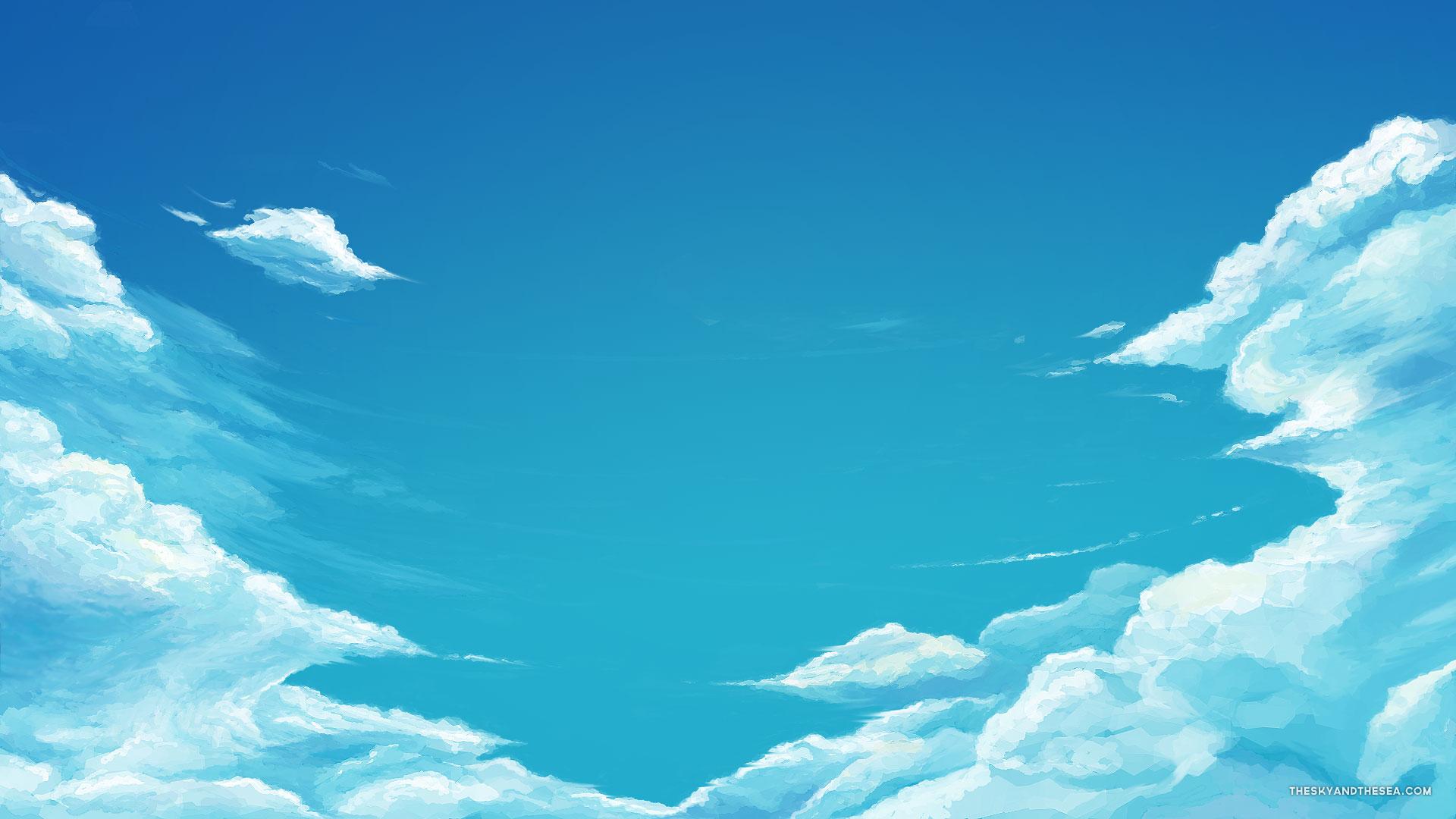 Cartoon blue sky wallpaper 1920x1080