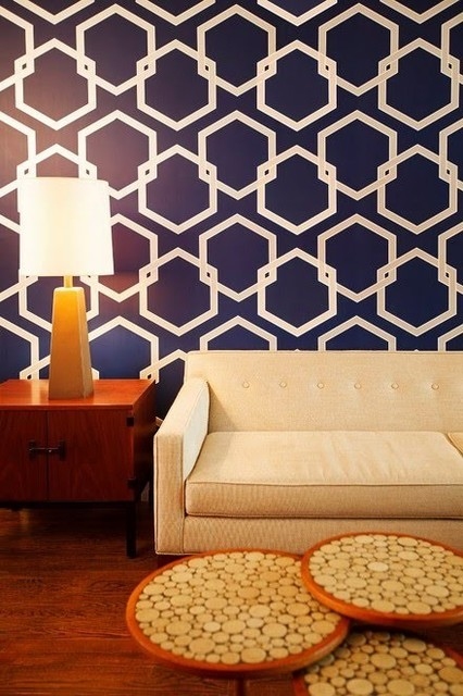 Tempaper Honeycomb Removable Wallpaper Deep Blue   Contemporary 426x640