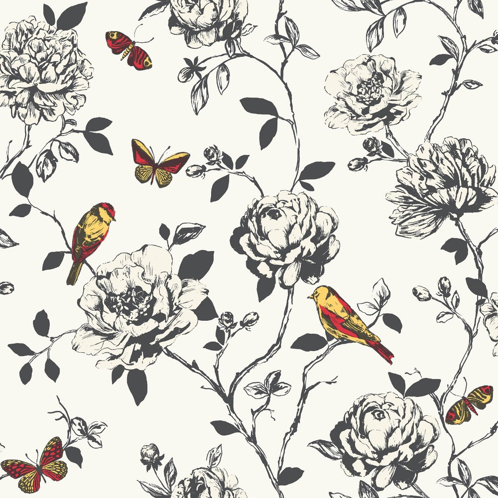 Flower Bird Butterfly Floral Pattern Silver Glitter Wallpaper 204322 1000x1000