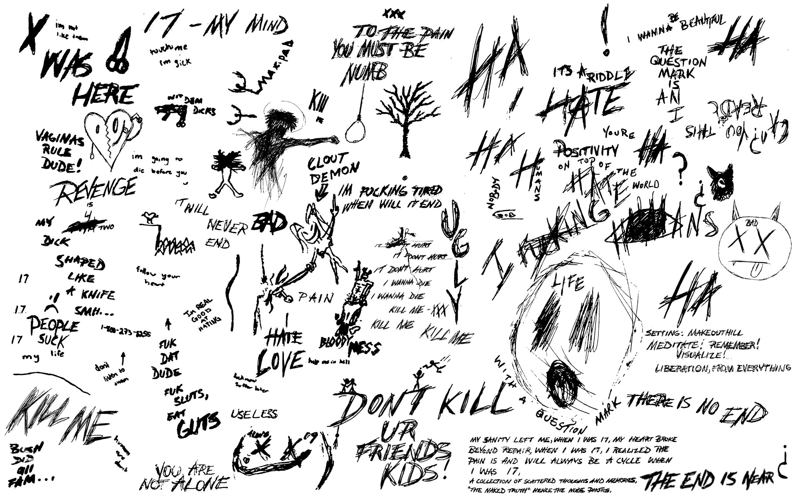 Made this xxxtentacion wallpaper out if his drawings Dont know 2560x1600