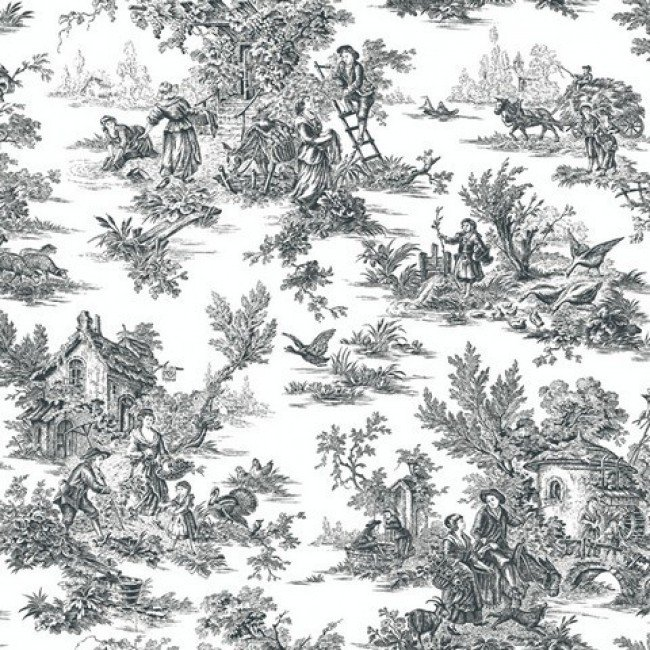 Black and White Colonial Toile Wallpaper   All 4 Walls Wallpaper 650x650