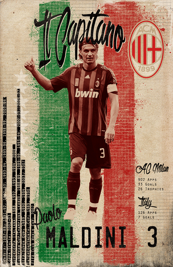 Maldini   Soccer Greats on Behance a c milan Ac milan Milan 600x927