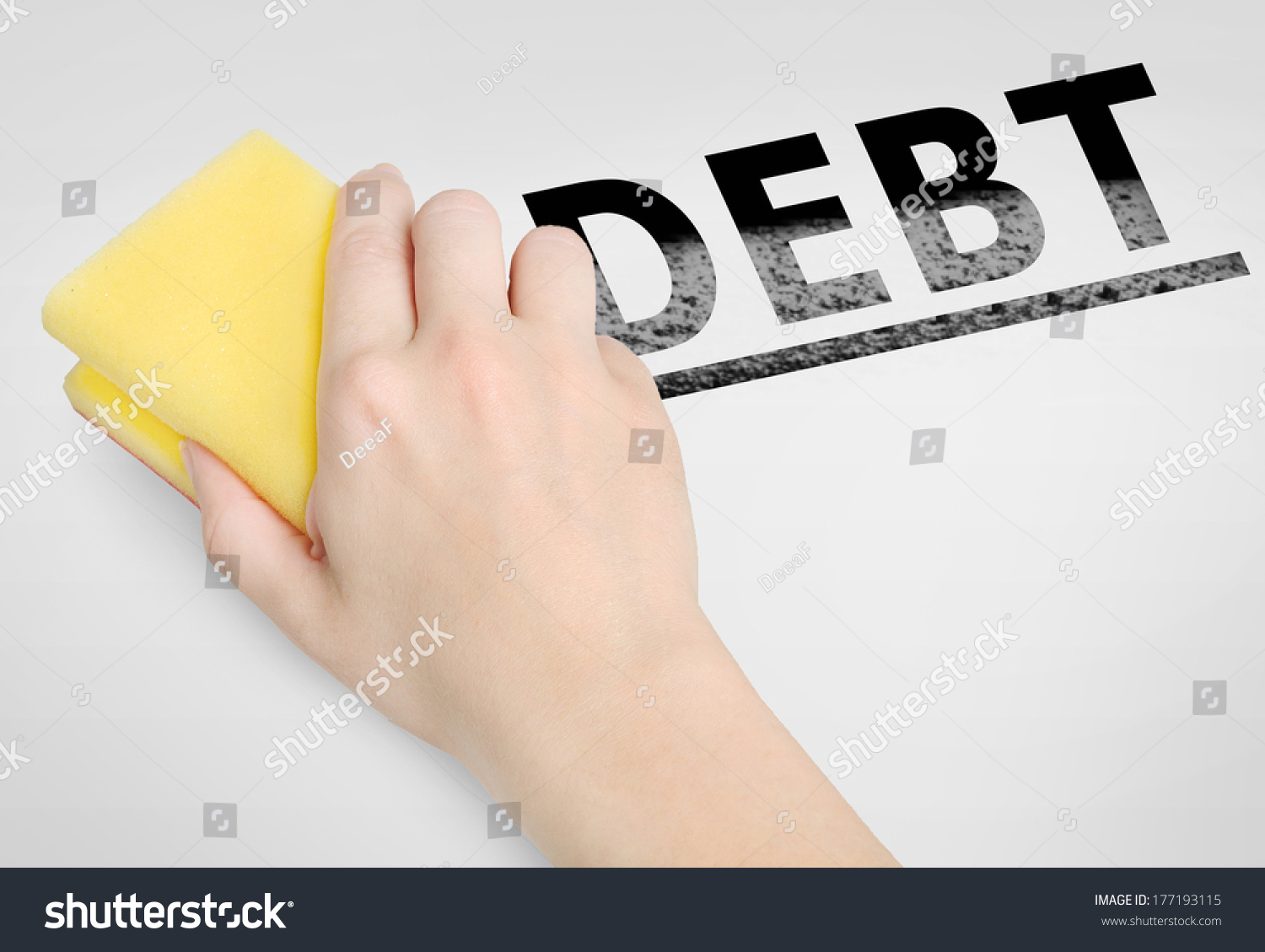 Cleaning Debt Word On Background Stock Photo Edit Now 177193115 1500x1129