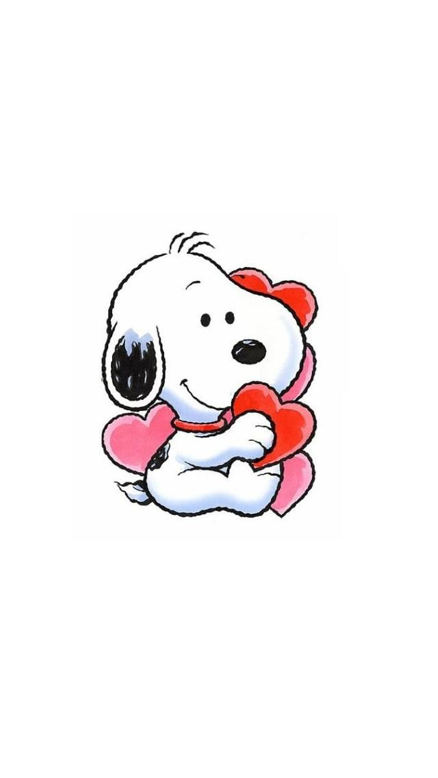 BABY SNOOPY WITH HEARTS IPHONE WALLPAPER BACKGROUND IPHONE 640x1136