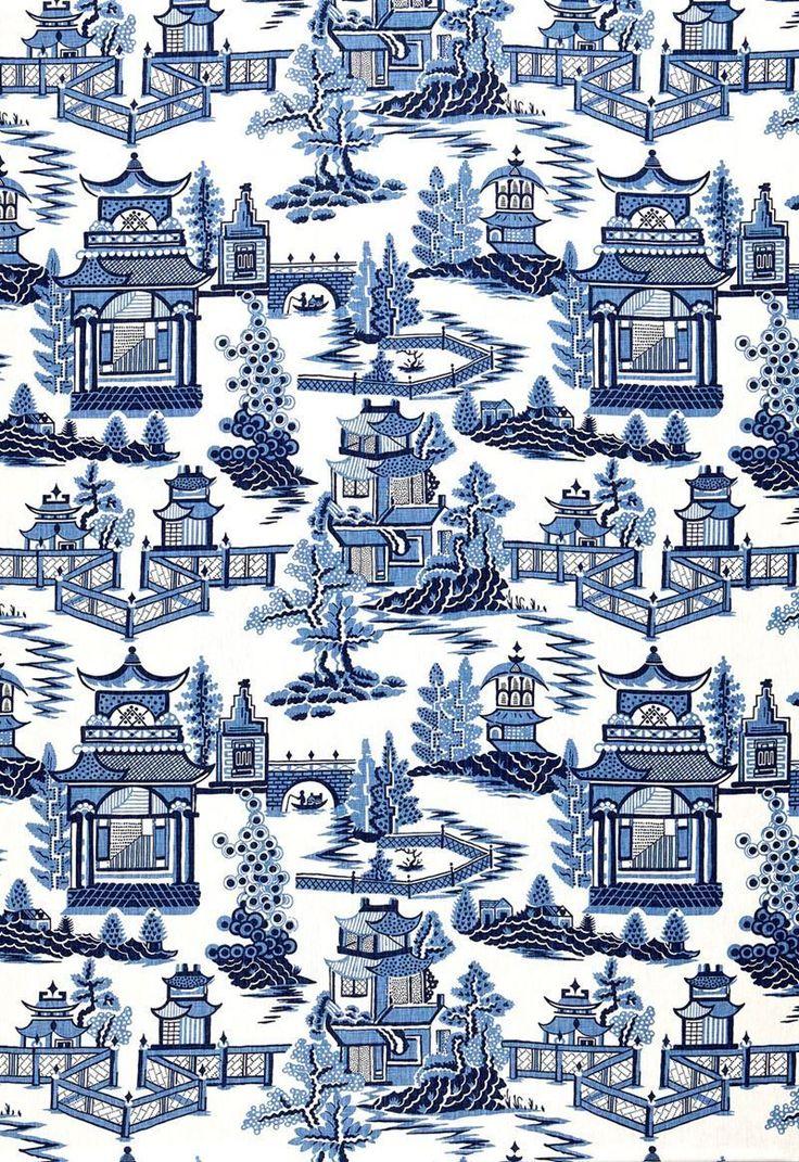 Schumacher chinoiserie pagoda toile linen fabric 10 yards blue Linen 736x1071